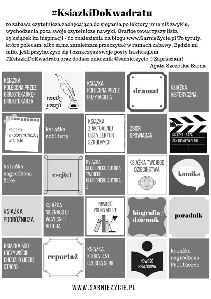 książki do kwadratu - lista kategorii do czytania